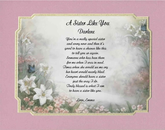Sister In Law Poems: Personalized Poem For Sister Or Sister In Law Gift For