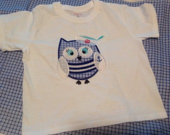 Nautical Owl appliqued tee shirt