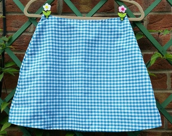 Handmade 1960s Mod Mini Skirt. Blue Gingham. size 8