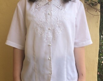White Embroidered  Button Up