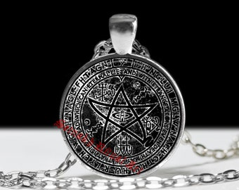 Necronomicon jewelry, Elder sign pendant, ritual amulet, occult necklace, chaos jewelry #15a