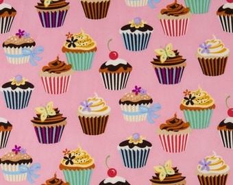 Robert Kaufman OOP Pink Cupcake Fabric - Sweet Tooth Collection - EOK-6828-107 in Petal - One Yard