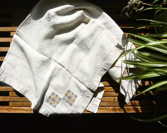Vintage Embroidered Tablecloth/Fabric 36x35