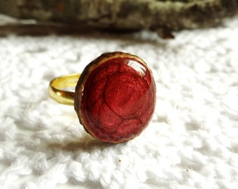 Wooden cherry ring, natural wood ring, unique gift, wood jewelry, eco friendly ring, wood gem (0120)