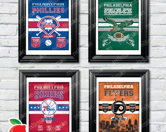 Set of 4 Vintage Style Philadelphia Sports Themed Art Prints