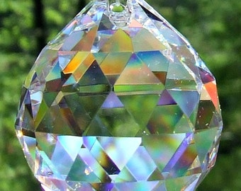 Asfour 40mm Full Lead Faceted Crystal Prism Ball, Sun Catcher, Feng Shui Crystal Prism