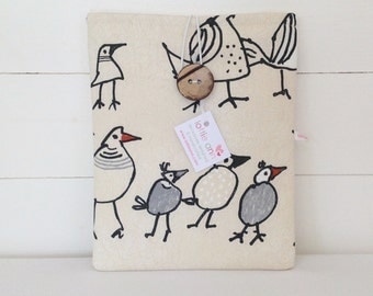 Charcoal Birds iPad Cover, Birds iPad Sleeve, iPad Pouch