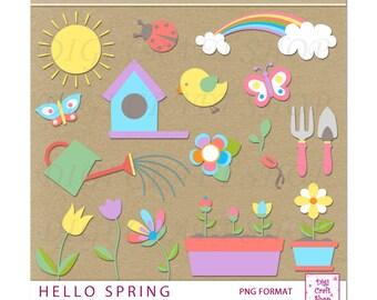 Digital Hello Spring Clipart. Sun, Bird house, rainbow, watering can, butterflies, ladybug, flowers, plants, shovel, rake. Instant Download