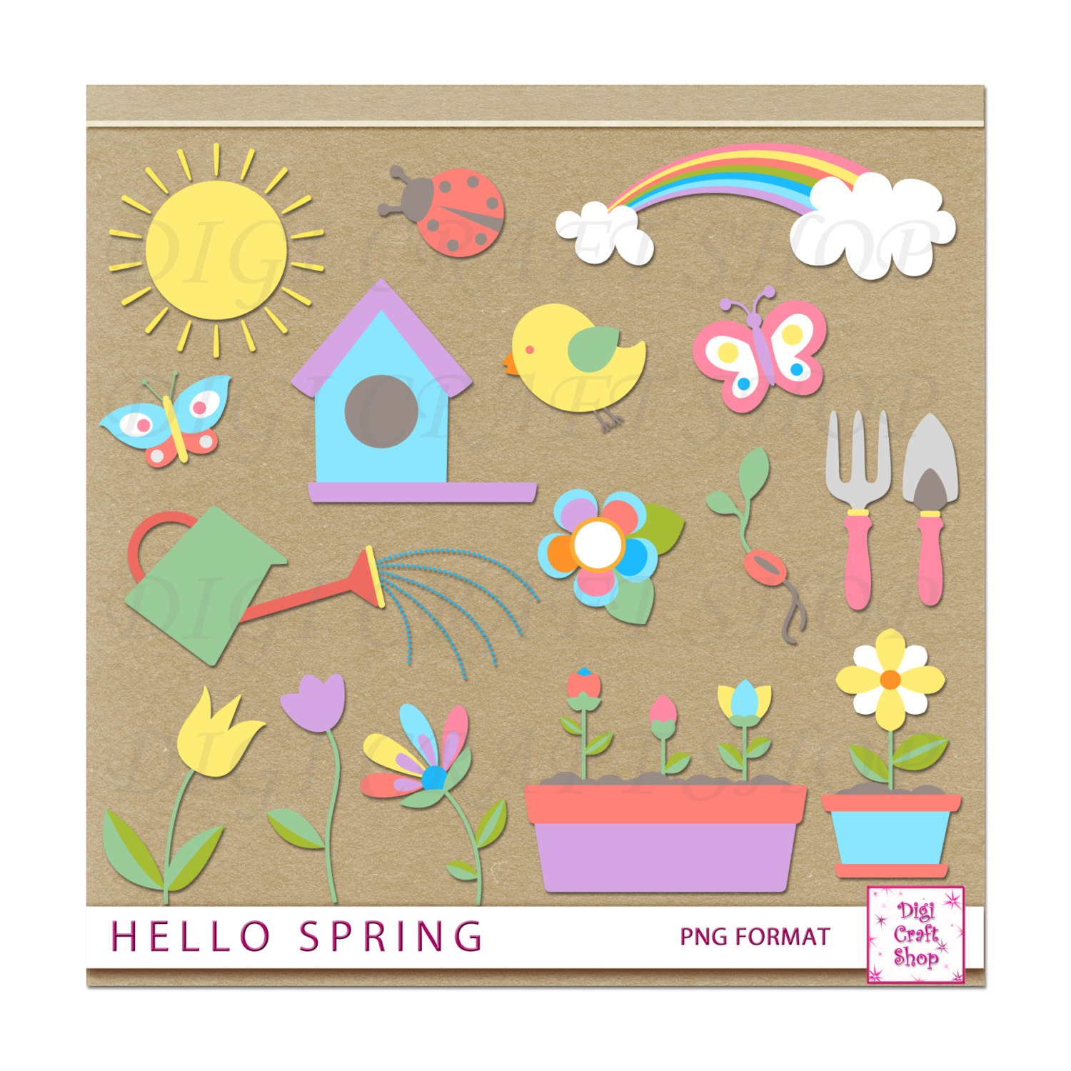 Digital hello spring clipart sun bird house rainbow watering can butterflies ladybug - Ladybug watering can ...