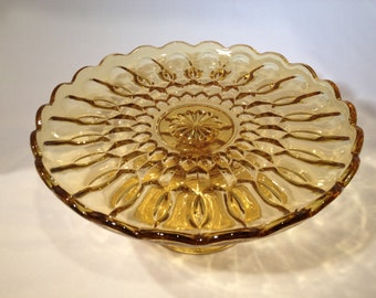 Amber Glass Pedestal Cake Plate with Scalloped Edges
