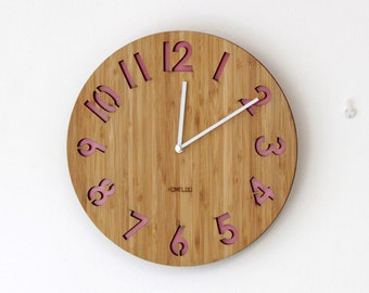 Modern All Numbers Bamboo Wood Wall Clock - Pink