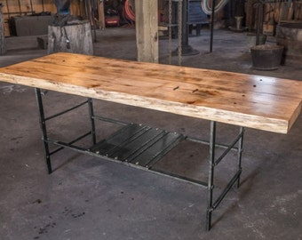 Reclaimed Hemlock Coffee or lounge Table made from barn wood and hand-crafted wrought-iron legs
