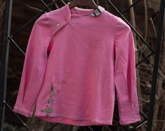 Candy pink sweater jersey hemp and cotton • 6 months to 6 years