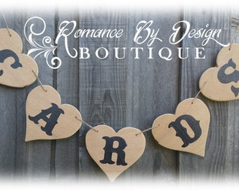 CARDS Wooden Wedding Banner Garland Swag Beacb Decoration Photo Prop