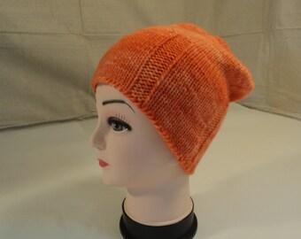 Handcrafted Slouchy Hat Orange 100% Fine Merino Wool Female Adult