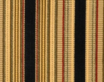 Black, Gold, Burgundy, Olive Stripe Upholstery Fabric By The Yard - Home Decor Fabric -