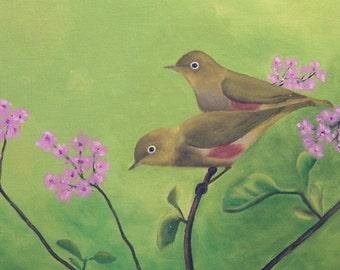 Original oil painting of silvereye tree sparrows birds
