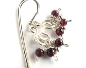 Flirtatious Garnet and Sterling Silver Cluster Earrings, Handcrafted Wire Work Earrings With Garnet Gemstone Charms, Boho Style