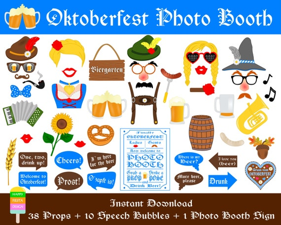 PRINTABLE Oktoberfest Photo Booth Props–Beer Photo Booth Sign-Printable German Beer Party Props-Beer Props-German Props-PDF-Instant Download