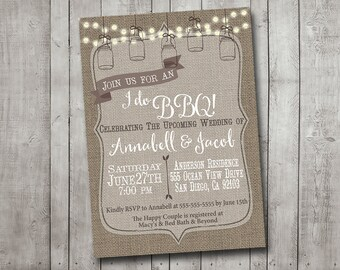 I Do BBQ Barbecue Engagement Party Couples Shower Invitation Rustic Burlap Mason Jar Lights Digital I Customize It For You