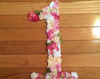 Floral Number/ First Birthday Decor/ Babys birthday/ Birthday Decor
