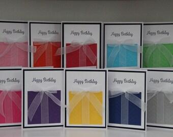 10 Birthday Greeting Cards.  Embossed Birthday Cards. Happy Birthday Card Assortment. Blank Birthday Cards.  Handmade Birthday Cards