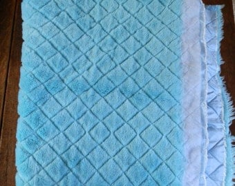 Quilted Turquoise Faux Fur and Polyester Three-Layer Fabric Piece / Remnant