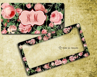 pink roses license plate license plate frame bike tag bike license plate - Monogram License Plate Frame