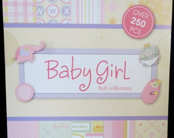 "BABY GIRL 8""x8"" Paper Pack Collection by The Paper Studio *Includes Over 250 Pieces*Free Shipping*"