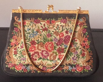 Antique Circa 1900 Petit Point Floral Handbag