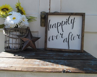 "Wood Sign ""happily ever after"""