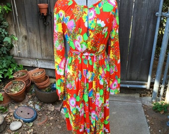60s Bright Flowing Boho Dress