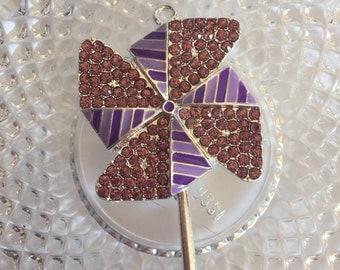Purple Rhinestone Pin-Wheel- Chunky Bubblegum Bead Charm
