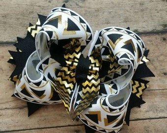 Black & Gold Stacked Bow