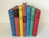 Vintage Orange, Gold, Red, White, Yellow, Green, Brown Bright Color Vintage Decorative Rainbow Books - for Photo, Bookshelf, or Entry Table