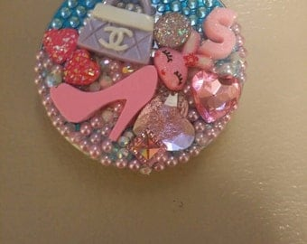 Custom initial S compact mirror . embellished with acrylic pearls and rhinestones.