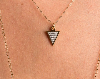 Cubic Zirconia Triangle Necklace/Triangle necklace/geometric necklace/April birthstone