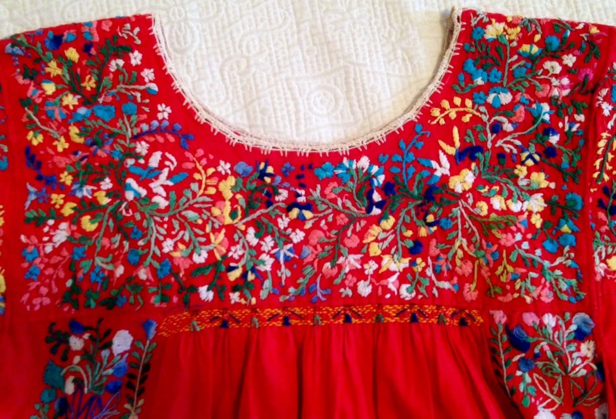Mexican oaxacan zapotec san antonio red embroidered dress