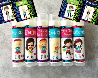 Pop Star Party Favors - Set of 5 - Karaoke Party Favors - Rock Star Party Favors - Custom Lip Balm - Rock Star Boys - Pop Star - Dance Party