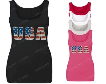 USA Distressed Women's Tank Top 4th Of July Tank Tops