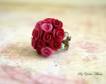 Ring with roses, Jewelry with roses, Flower Ring, Flower Ring, Pink Rose Ring, Roses Ring, Rose Jewelry, Handmade Rose Ring, Pink Rose Ring