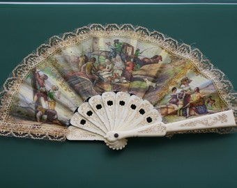 Vintage éventail RANGE (Fan )Sale!! HAND FAN abanico romantic designer handfan