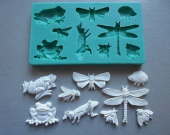 Silicone Mould / Insects and Frogs / Sugarcraft Cake Decorating Fondant / fimo mold