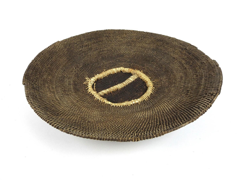 Vintage Genuine African Basket 17 Dark Brown Beige Earthy