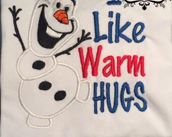Olaf Embroidered Shirt - Warm Hugs Shirt - Snowman Shirt