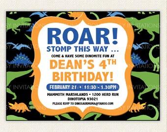 Dinosaur Birthday Invitation Printable Digital Boy Girl