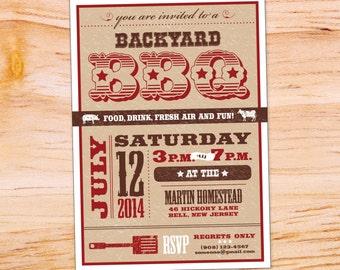 Backyard BBQ Invitation, custom, printable digital file download.