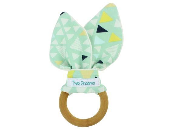 Natural Organic Wooden Teething Ring Toy Natural Maple Teething Ring Mint Triangle Teether Toy Bamboo Organic Terry Baby Teething Ring