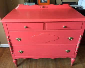 SOLD-Vintage Coral and Gold Small Dresser Table