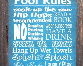pool sign,  pool decor, Pool Rules Sign, pool house decor, pool house sign, swimming pool sign, pool decoration, 44/38